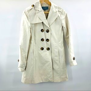 Ann Taylor Petite Cream Trench Coat Jacket